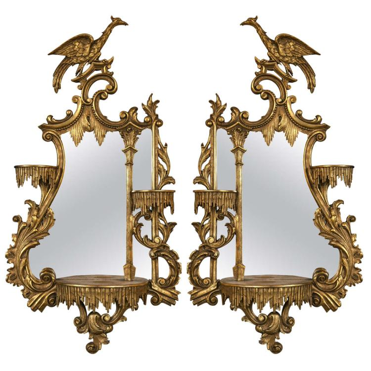 Pair of Giltwood Opposing Eagle Carved Mirrors with Shelves
