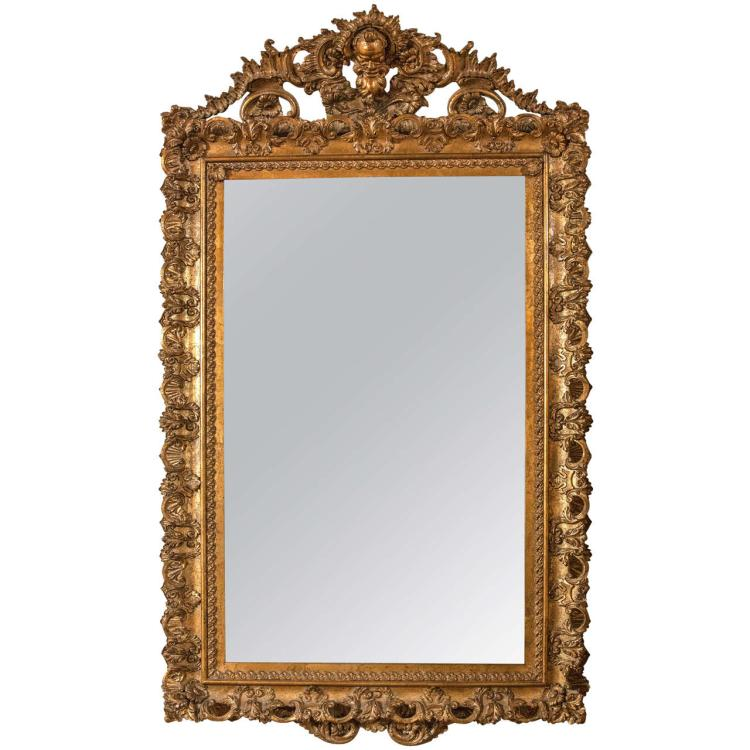 Early 19th Century Carved Gilt Gold Wooden Mirror