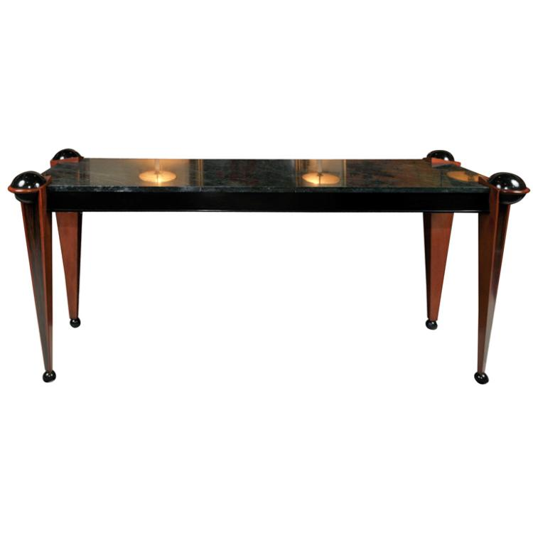 Art Deco Macassar & Ebony Console with Marble Top