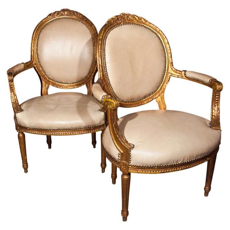 Pair of French Louis XIV Armchairs by Maison Jansen