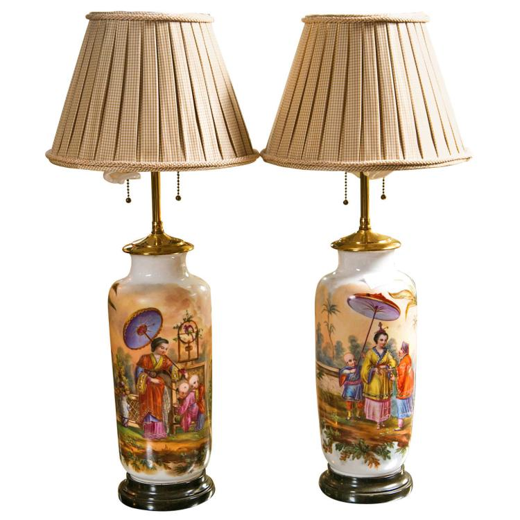 Pair of 19C French Chinoiserie Style Porcelain Lamps