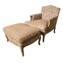 French Louis XV Style Armchair & Stool