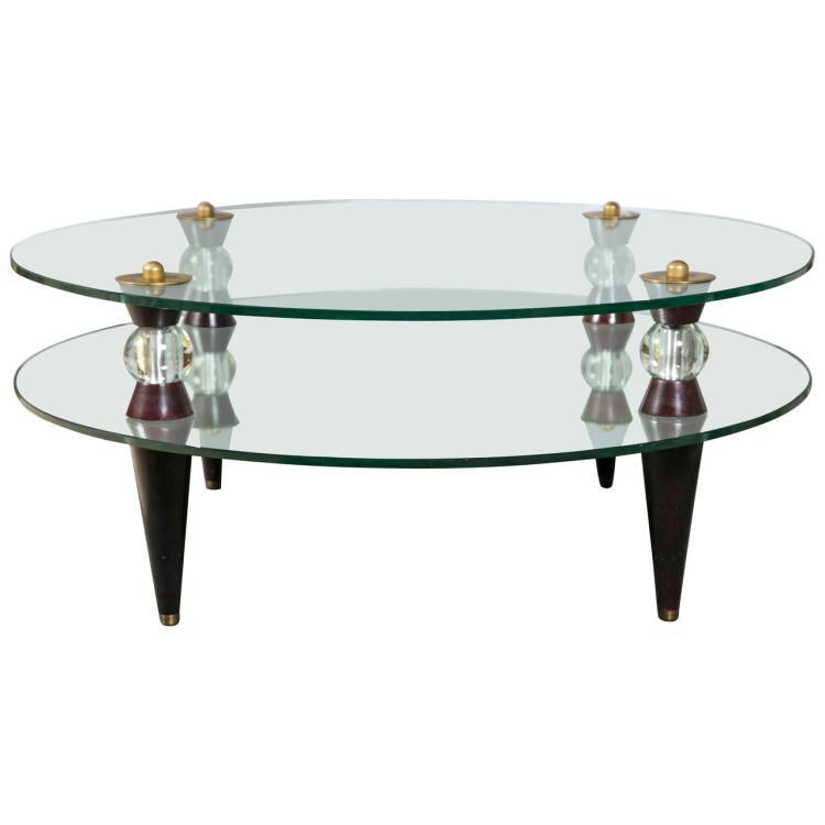 Art Deco Glass & Mirror Coffee Table Mid Century Modern