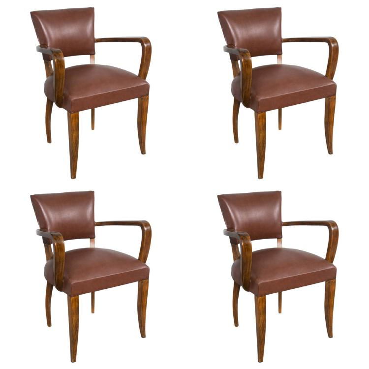 Set of Four Mid-Century Modern Rosewood Armchairs