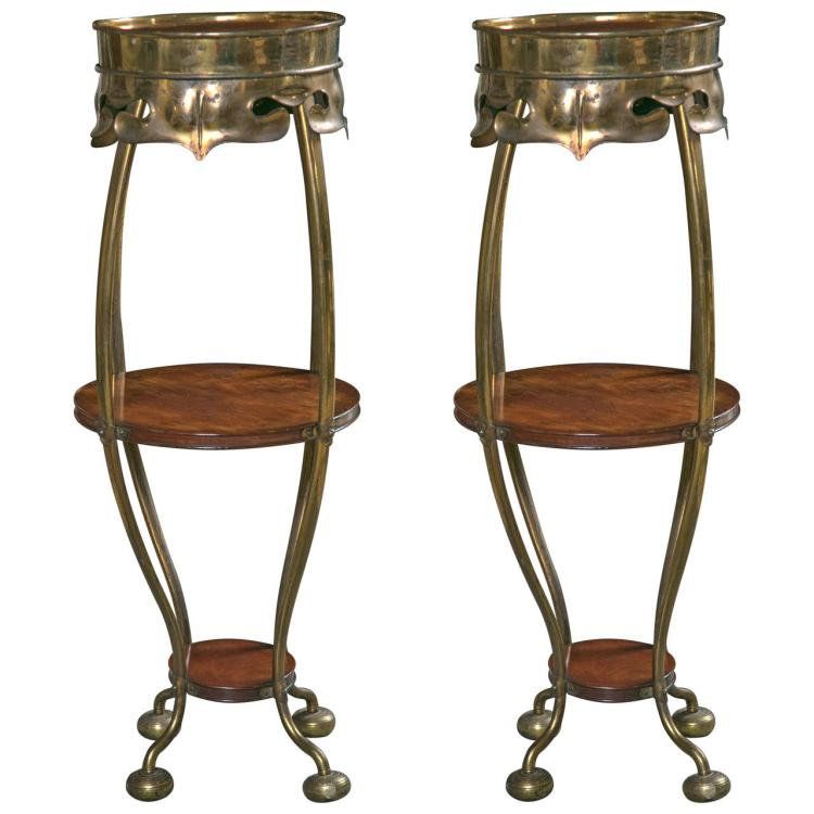 Pair of Art Deco Brass Rosewood Pedestal Stands