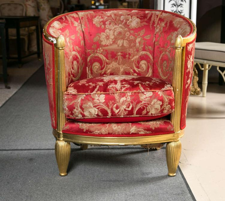 Art Deco Giltwood Barrel Back Chair