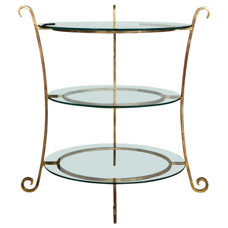 Three-Tier Glass and Gilt Metal Etagere Server or Stand