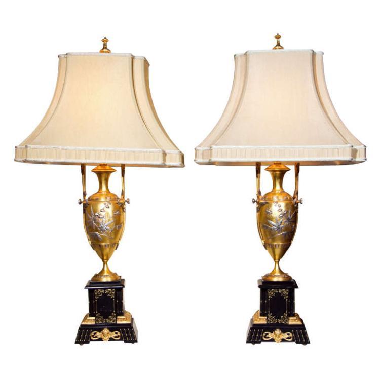 Pair of Art Nouveau Bronze Lamps