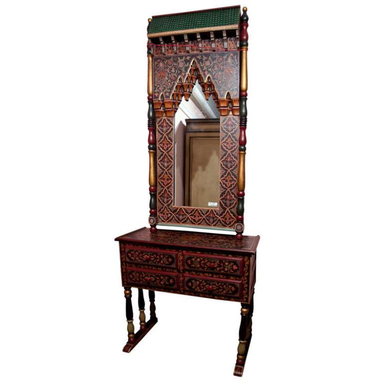 Indian Folk Art Style Mirror W/ Matching Console