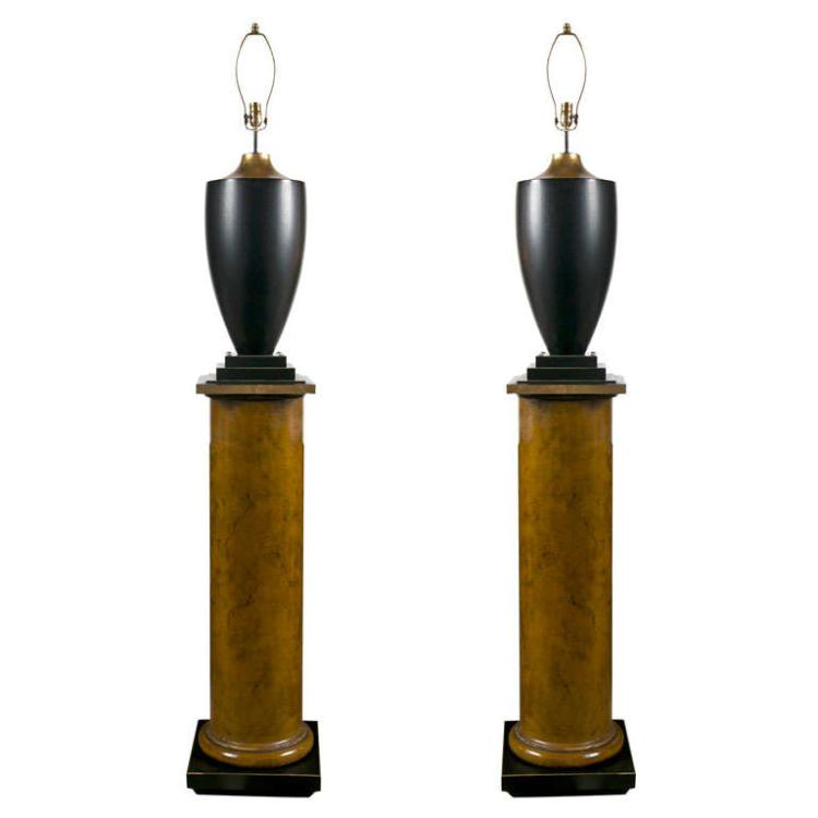 Pair of Lamps On Column Pedestals