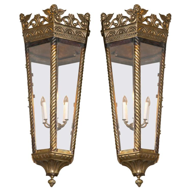 Pair of Empire Style Bronze Chandeliers