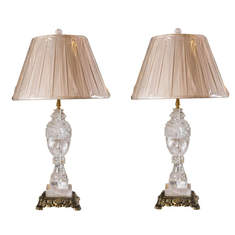 Pair of Rock Crystal Lamps on Bronze Bases