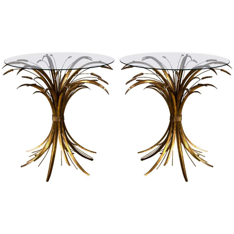 Pair of Italian Gilt Iron Wheat Sheaf Tables