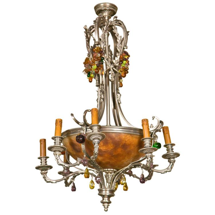 French Art Nouveau Style 8-Light Chandelier