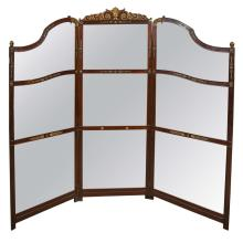 Three-Panel Room Divider or Screen Mirror and Mahogany, Early 19th Century