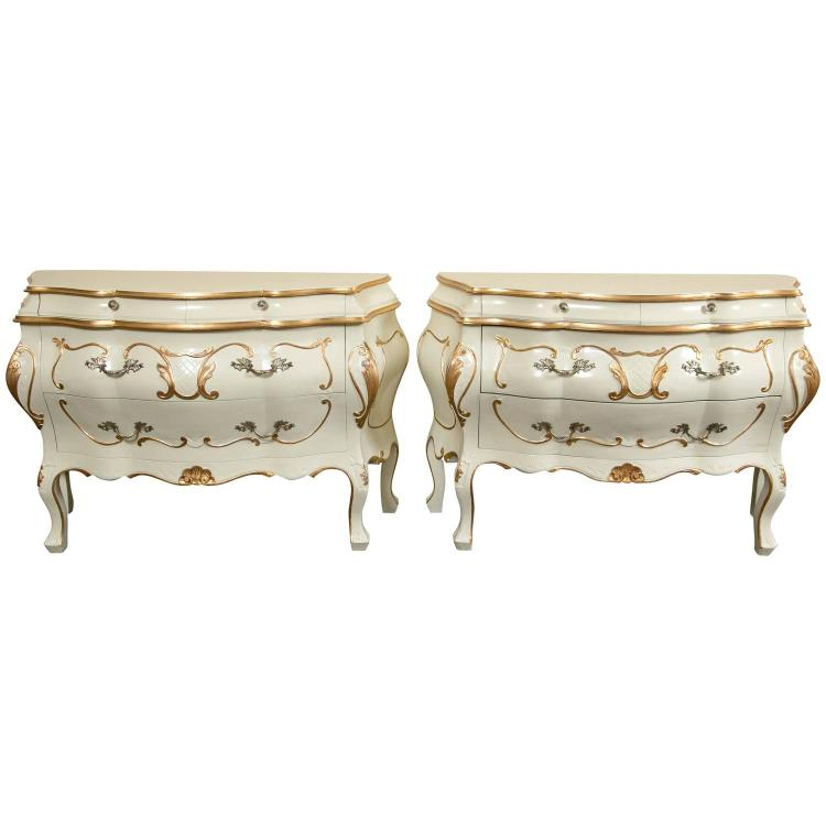 Pair Parcel Paint and Gilt Decorated Italian Bombe Commodes, Night Tables