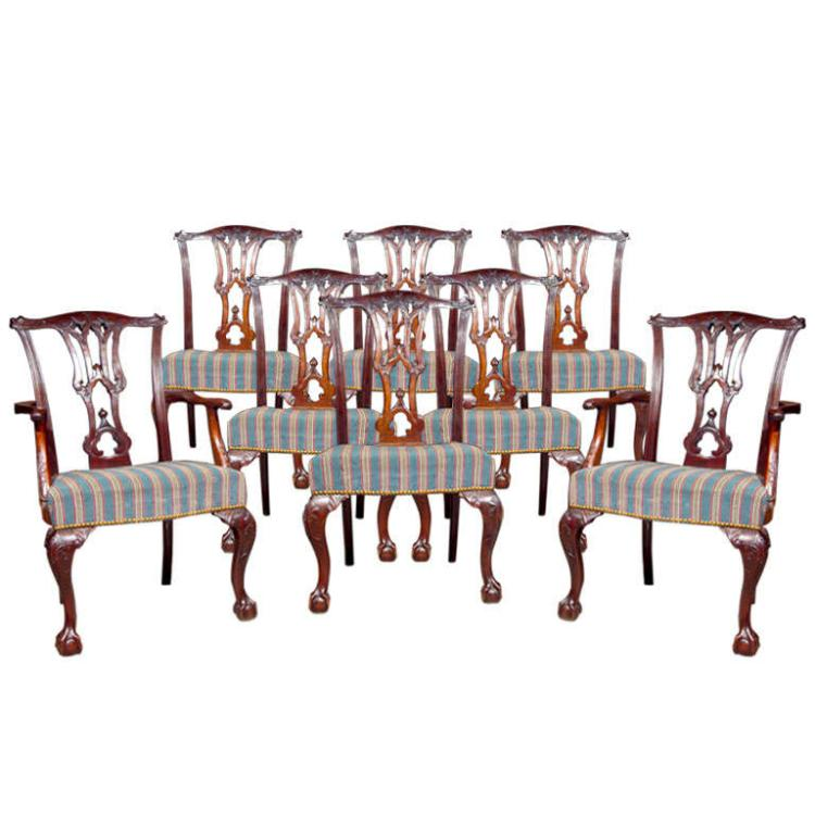 Set of 8 English Mahogany Dining Chairs