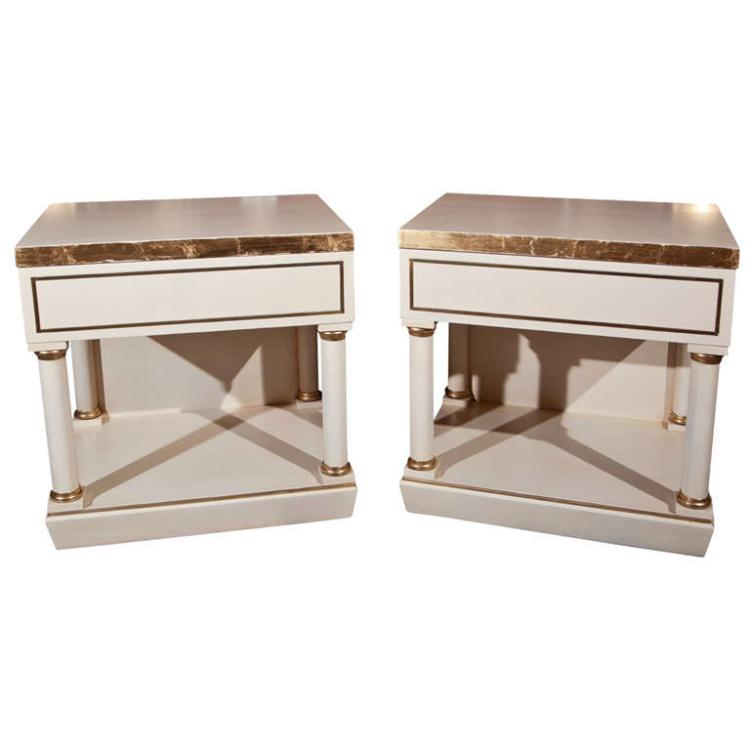 Pair of White Painted End Tables / Nightstands