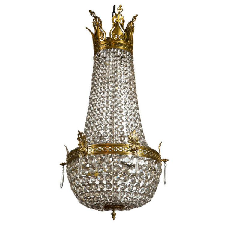 French Empire Style Bronze & Crystal Chandelier