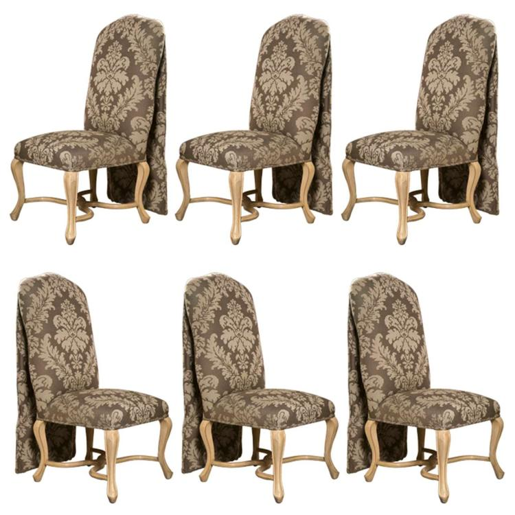 Set of 6 Paint Decorated Dining Chairs by Kreis