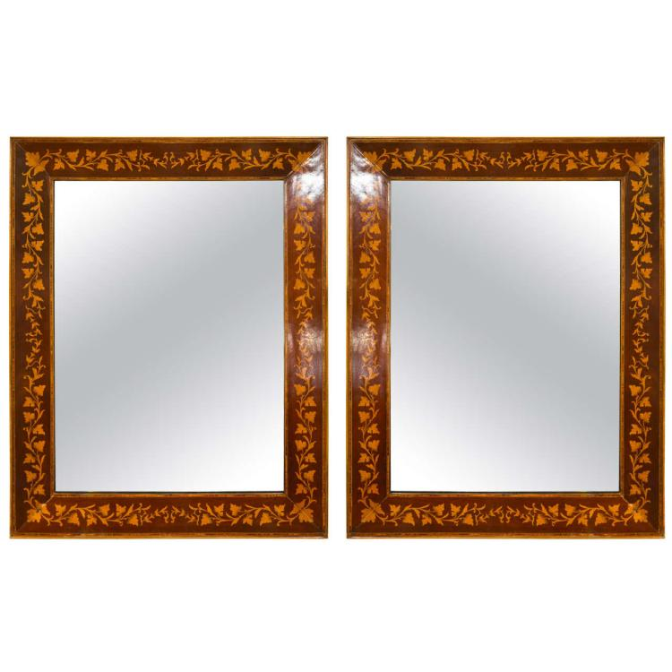 Pair of Adam's Style Inlaid Mirrors