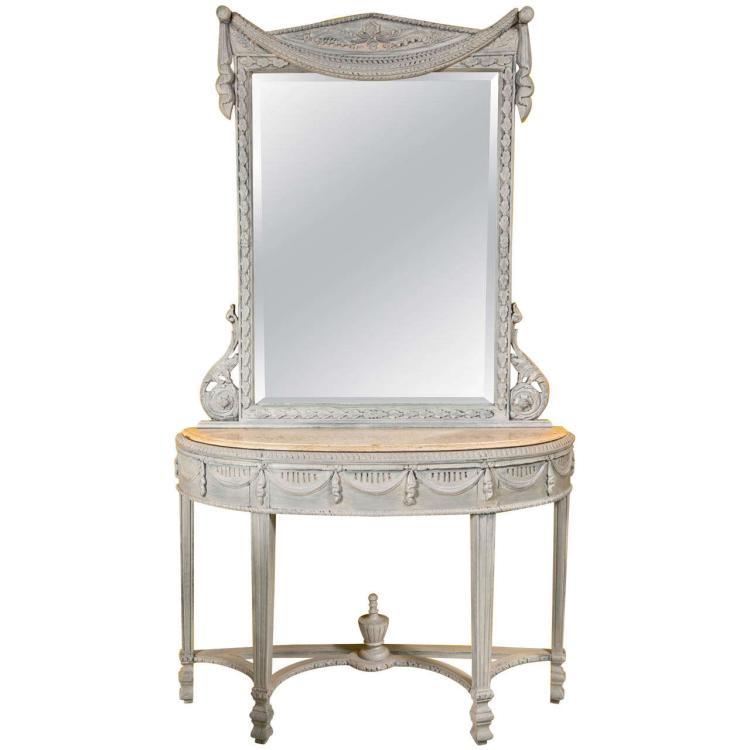 Swedish Style Paint Decorated Marble Top Console with Mirror