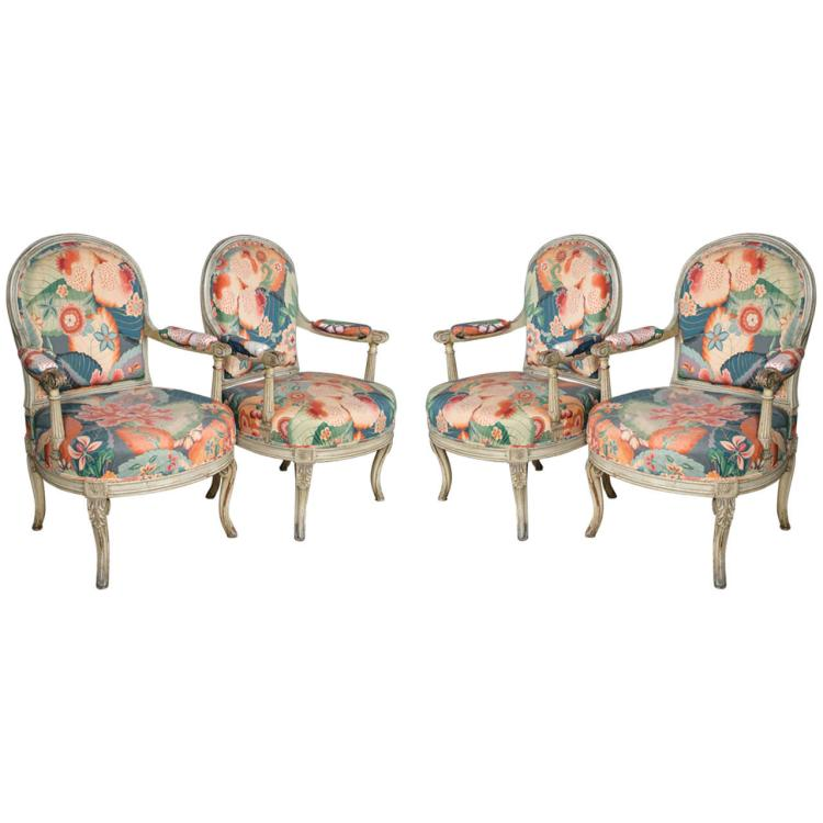 Pair of Carved and Paint Decorated Fauteuils by Jansen