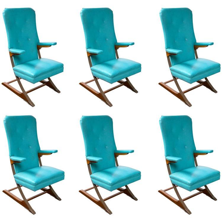 Set of Six Blue Mid-Century McKay Spring Rocker Rocking Chair