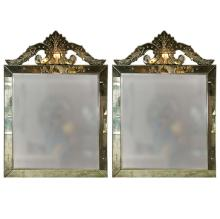 Pair of Distressed Venetian Roma Style Square Mirrors