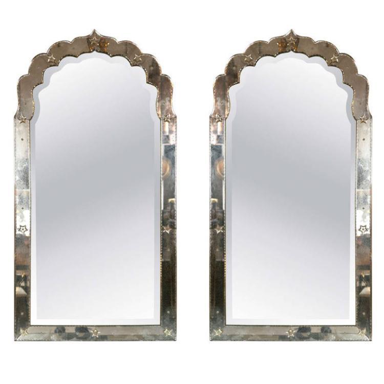Antiqued Venetian Doris Duke Pair of Mirrors