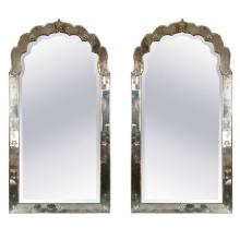 Antiqued Venetian Doris Duke Pair of Mirrors