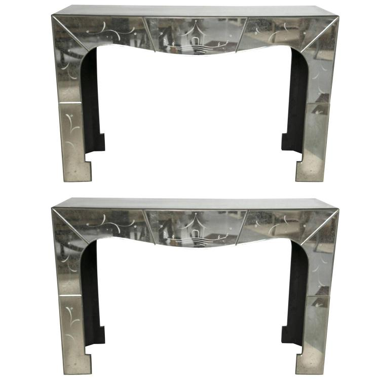 Pair of Pagoda Style Mirrored Console with Subltle Chinese Etchings