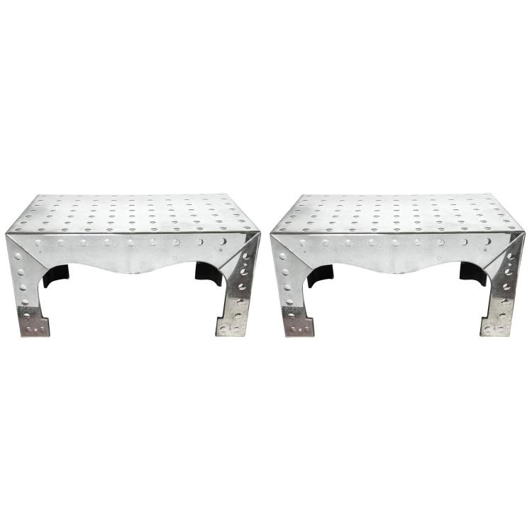 Pair of Pagoda Mirrored Coffee Tables