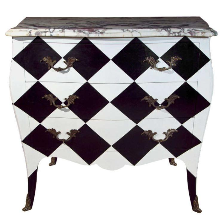 French Painted Marble Top Commode