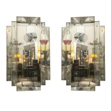 Pair of 'City Scape' Hollywood Regency Style Mirrors