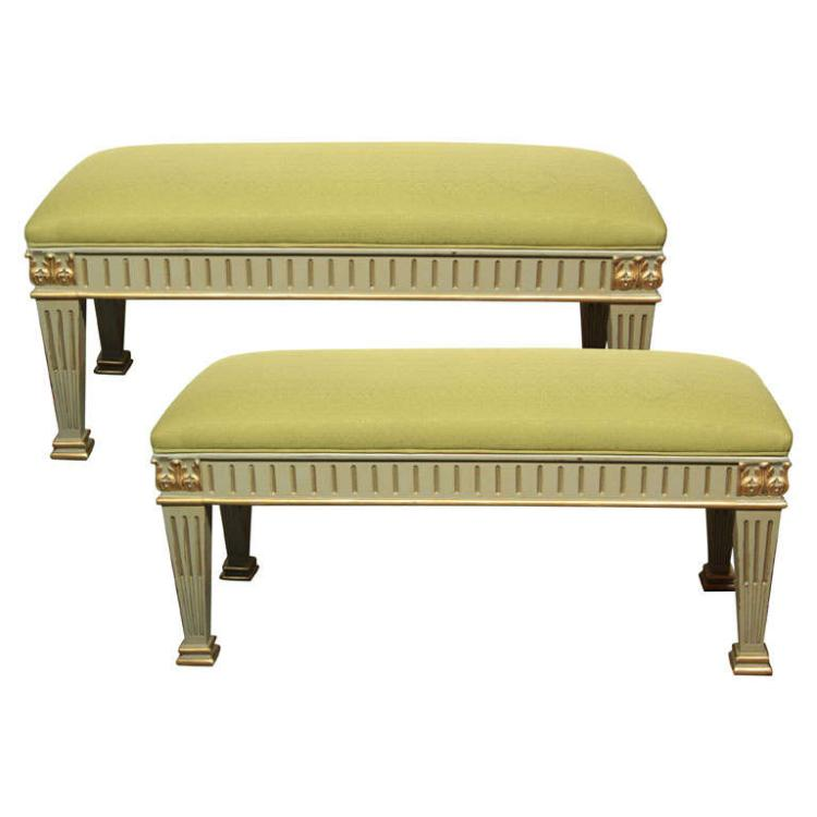 Pair of French Empire Style Benches