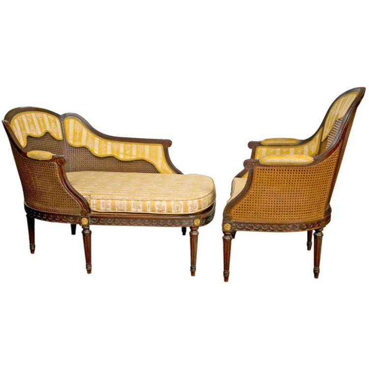 Frech Louis XIV Style 2-Piece Chaise