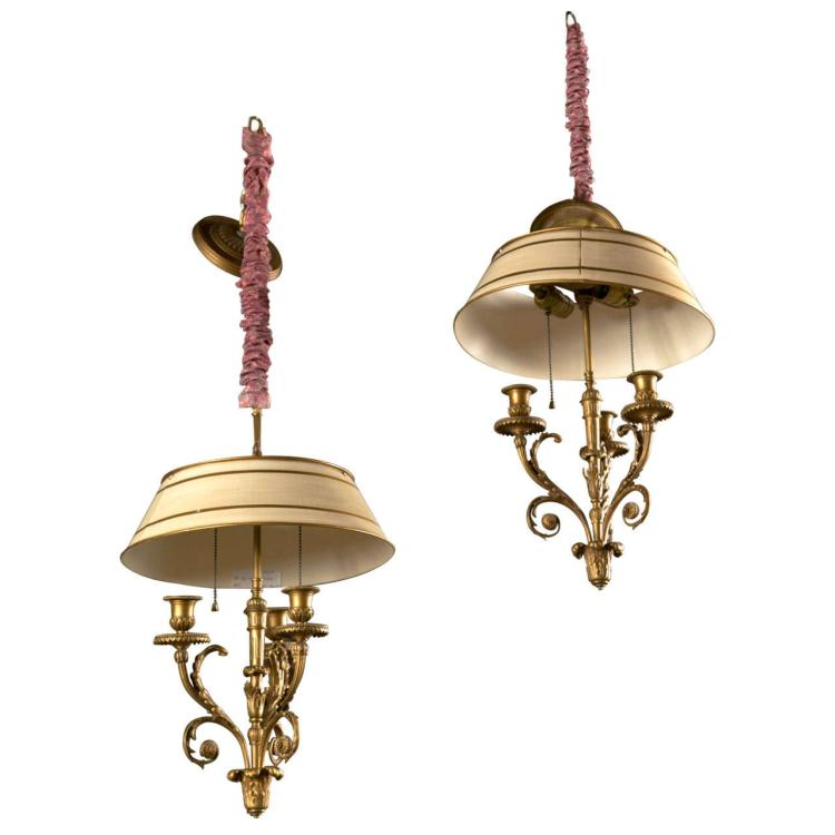 A Pair of Bronze Dore Louis XV Style Chandeliers