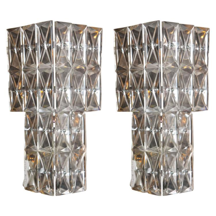 A Pair of Art Deco Crystal Wall Sconces