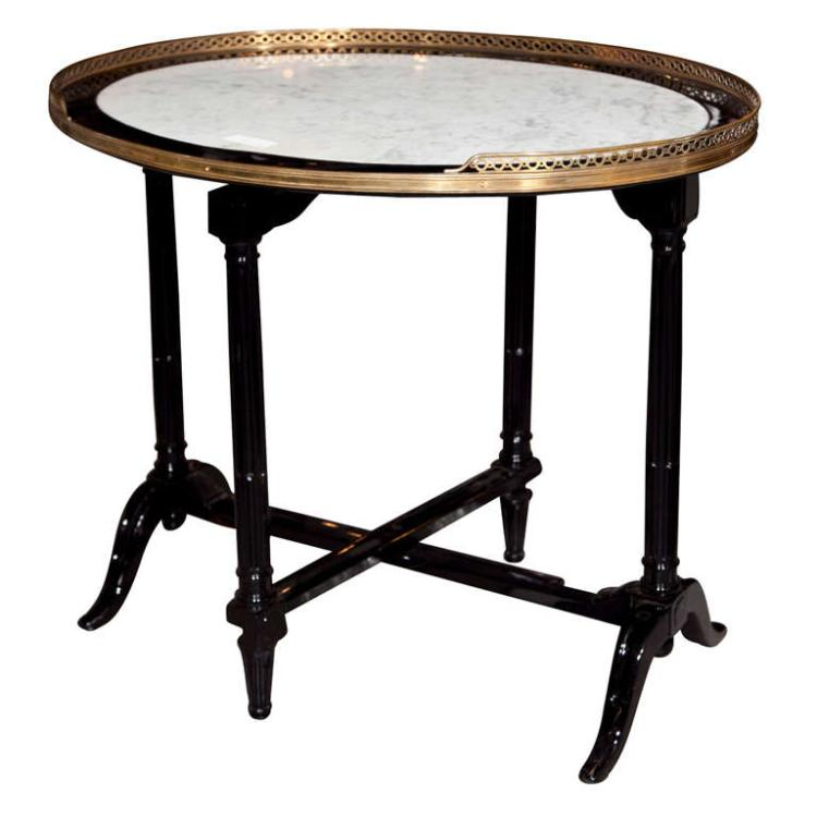 French Marble Top Ebonized Tilt Top Table Attr. to Jansen