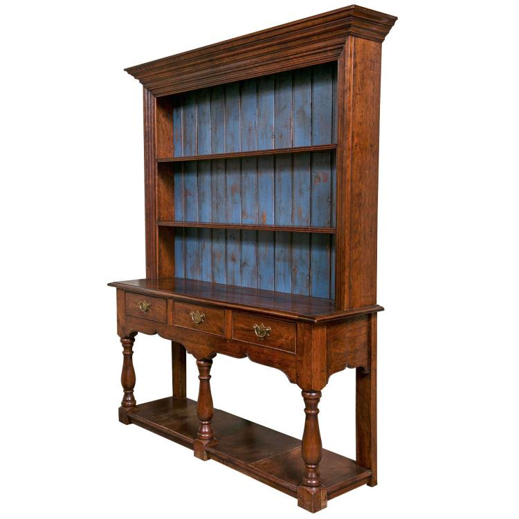 19th Century English Provincial Open-Front Cupboard Cabinet