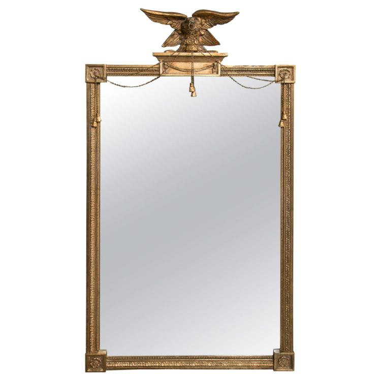 Federal Style Antique Mirror with Gilt Carved Eagle