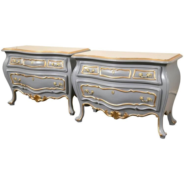 Pair of Parcel Paint and Gilt Decorated Bombe Commodes or Nightstands