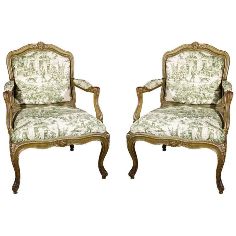 Pair of French Louis XV Style Fauteuils a la Reine