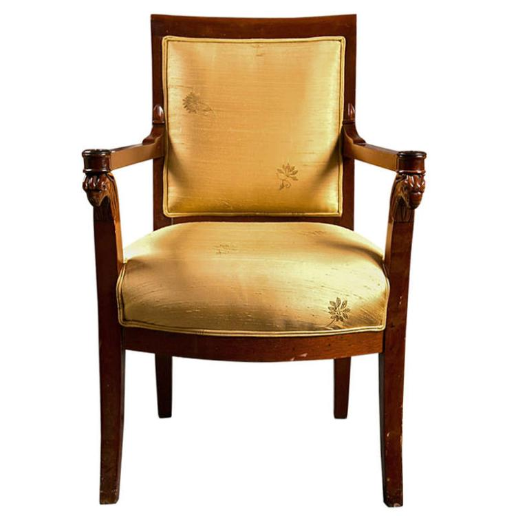 Russian Neoclassical Fauteuil Arm Chair in Silk Fabric