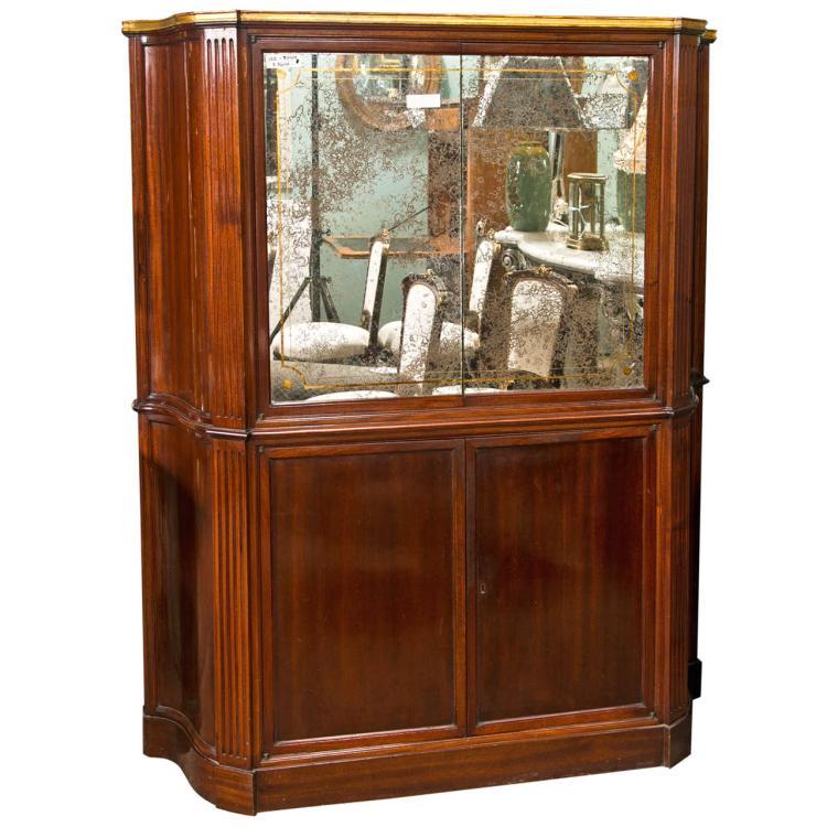 Art Deco Style Mahogany Bar Cabinet