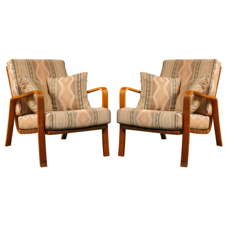 Pair of Alvar Aalto Armchairs with Cushions