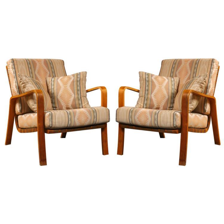 Pair of Alvar Aalto Armchairs with Cushions