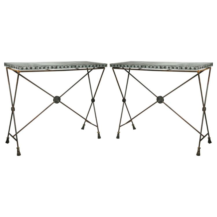 Pair of Iron Zinc Top X-Form Console Tables