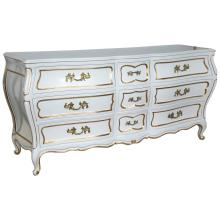 White Lacquared Louis XV Style Bombe Dresser